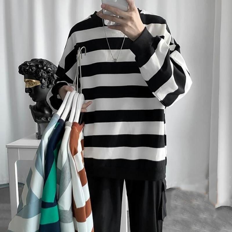 High Quality Men Casual T-shirt Long Sleeve Loose O-Neck British Stripe Pullover  T Shirt Men  Streetwear Tops