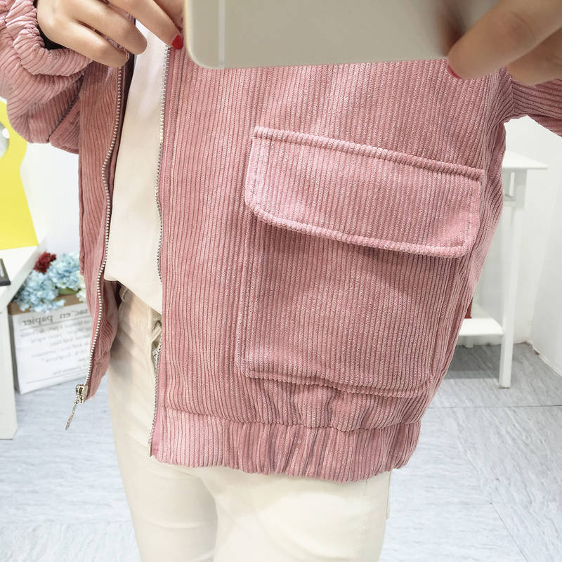 Hc3170123b93d483394fe274e49c98cbbM Jacket Chaqueta Coat  Clothes Streetwear New 2019 Women Jacket Long Sleeve Turn-down Collar Outerwear Brown Corduroy Coat Jacket