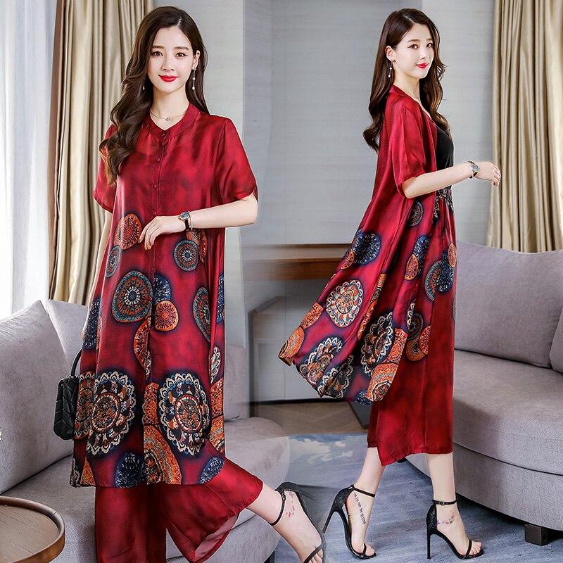 2019 Ao Dai Cheongsam Vietnam Chiffon Aodai Graceful Folk Style Floral Print Improved Vietnam Cheongsam Robe+pants Pieces Suit