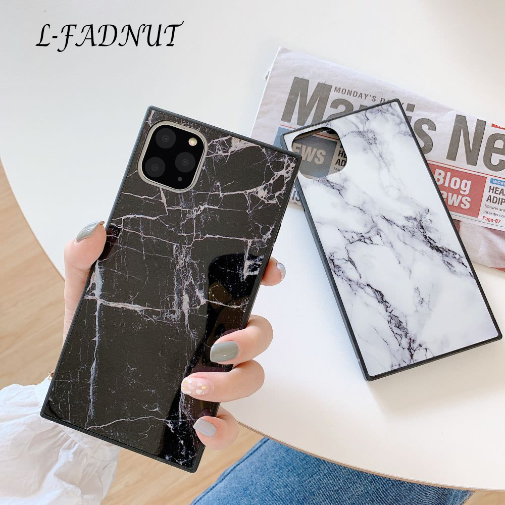 L-FADNUT Coolish Square Marble Phone Case For iPhone 11 Pro Max Xr X Xs Slim Silicone Cover For iPhone 7 Plus 8 SE 2020 Bumper