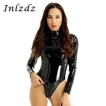 Kadın iç çamaşırı lateks Catsuit Bodysuit Wetlook Patent deri seks kostüm yüksek yaka yüksek kesim fermuar şeffaf Leotard Bodysuit