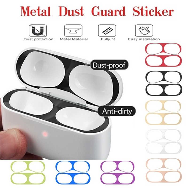 금속 먼지 가드 스티커 케이스 애플 Airpods 프로 이어폰 커버 Airpods 2 1 에어 포드 3 헤드폰 충전 박스 액세서리