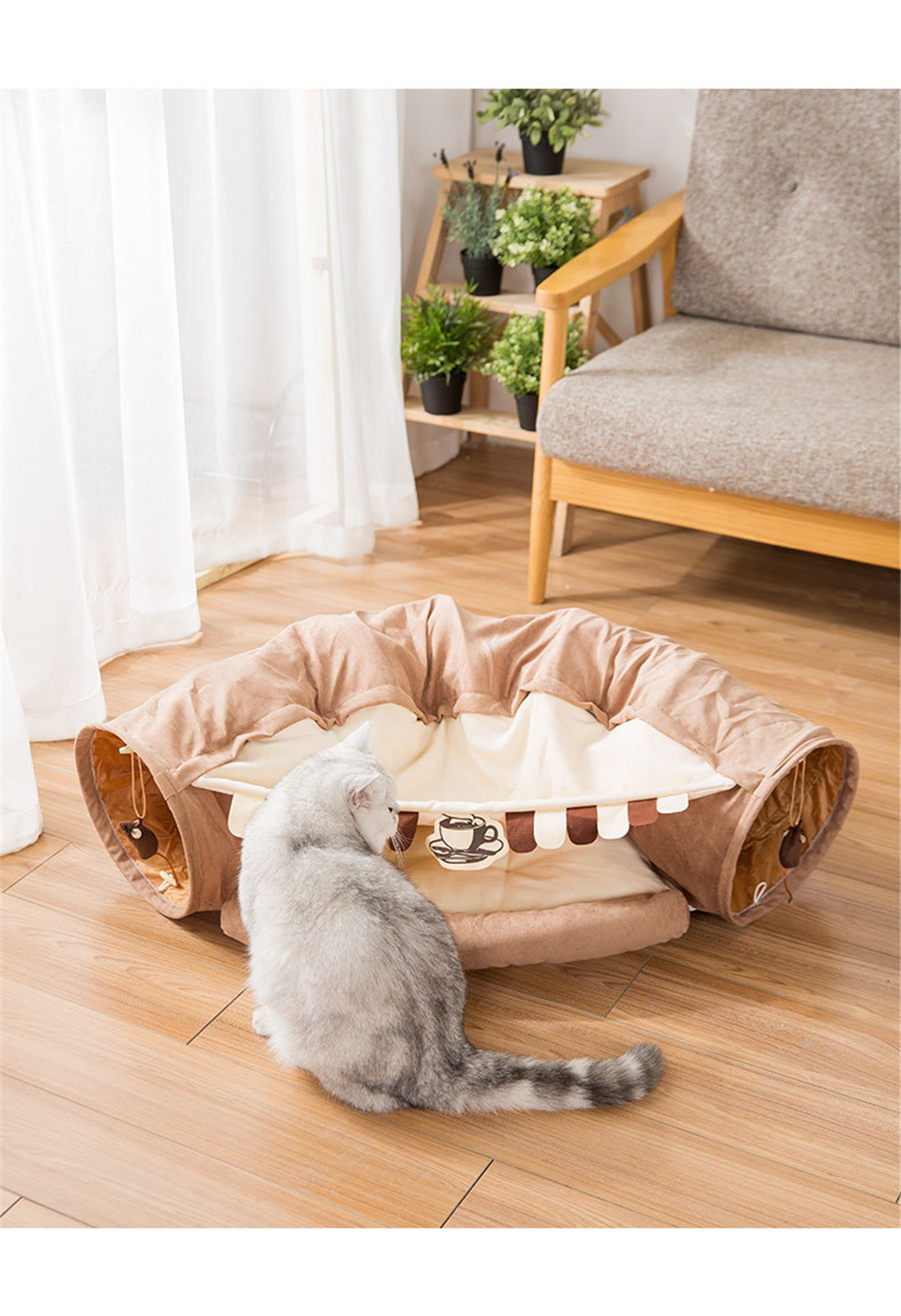 Funny Cat Tunnel bed Collapsible Crinkle Pet tent Kitten Puppy  Ferrets Rabbit interactive Toys 2 holes Tunnel  Pet cat nest 15