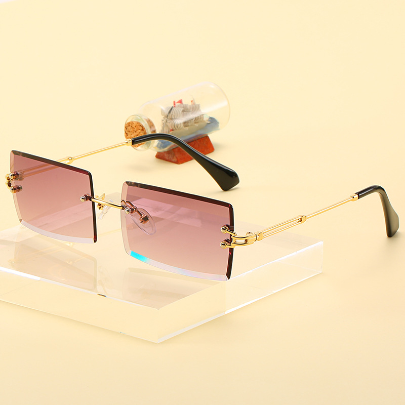 Fashion Rimless Sunglasses Women Trendy Small Rectangle Sun Glasses Summer Traveling Style UV400 Gold Brown Shades for men