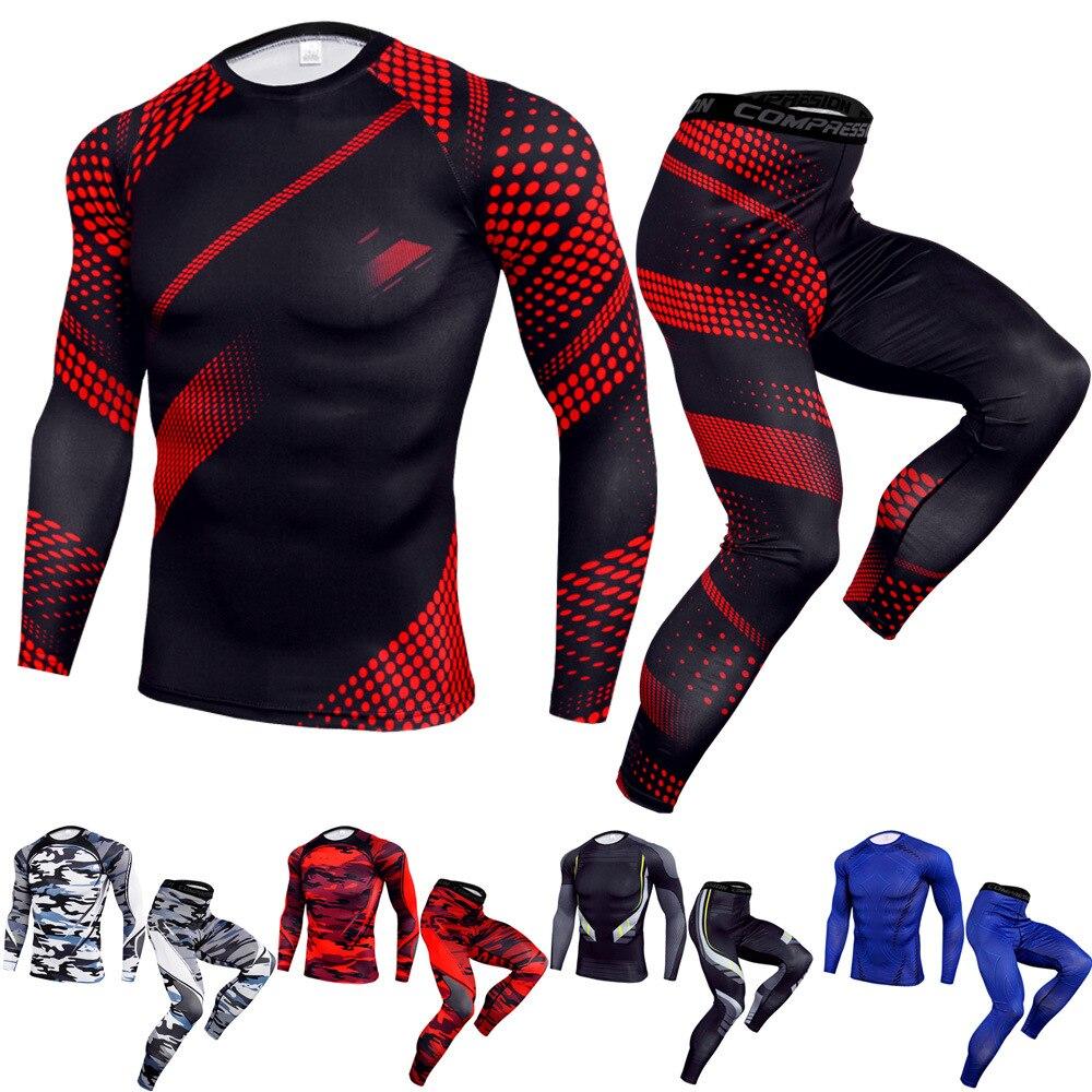 Summer New Mens Thermal Underwear Compression T Shirt Set Men Tracksuit 3D Exercise Fitness Clothing Men Sets Sportswear Suit Me