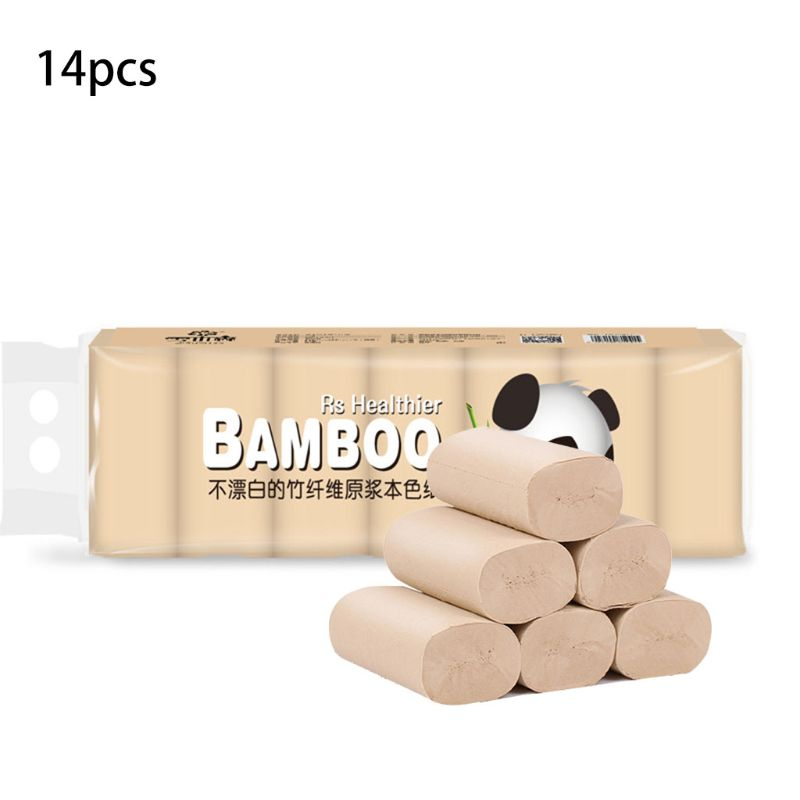 14 Rolls Natural Bamboo Pulp Roll Paper Toilet Paper 4 Layer Thickened  Strong