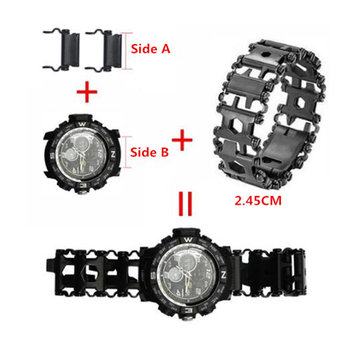 2.45cm Watch Link Buckle Stainless Steel Multifunction Tread Tool Outdoor Sports Bracelet Accessories for Adjustable Drop