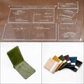 1 Set Von Leder Handwerk Mode Multi-karte Brieftasche Kurze Brieftasche Nähen Muster Harte Acryl und Kraft Papier Schablone vorlage