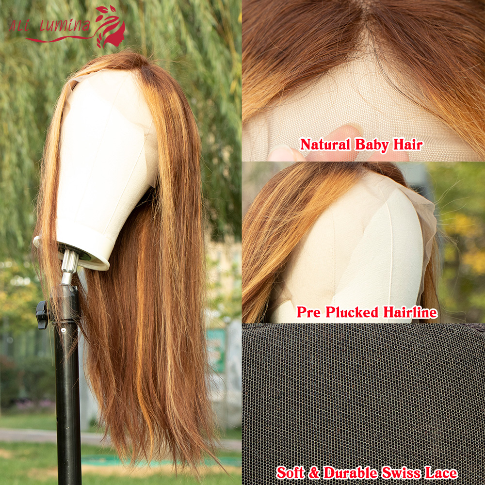 13X4 Lace Front Wig  Straight Highlight Wig  Wigs Pre Pluck With Baby Hair Ombre  Wig 3