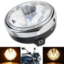1pc Black Motorcycle Round Headlight Headlamp 7 Inches 35W Universal Clear Glass Lens Beam Lamp Light