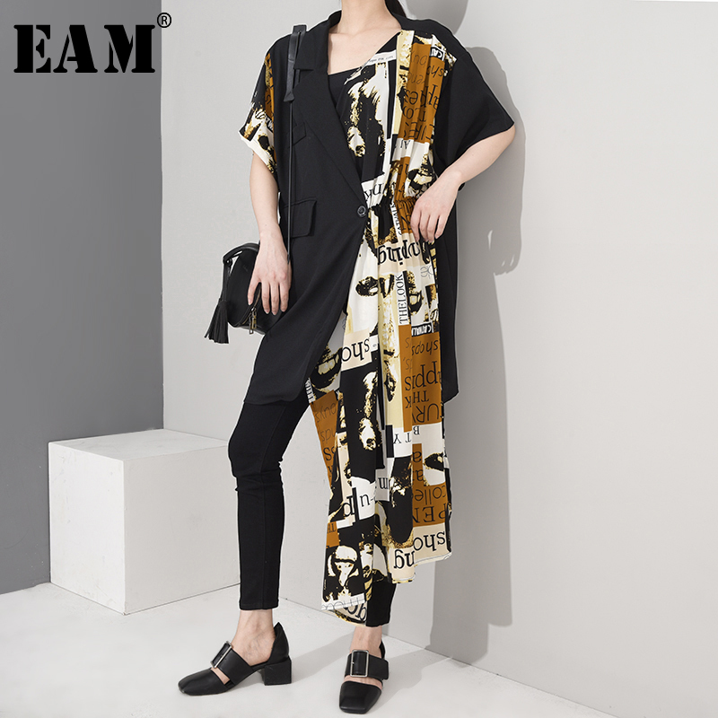 [EAM] Women Black Pattern Printed Irregular Big Size Dress New Lapel Half Sleeve Loose Fit Fashion Tide Spring Summer 2020 1W645