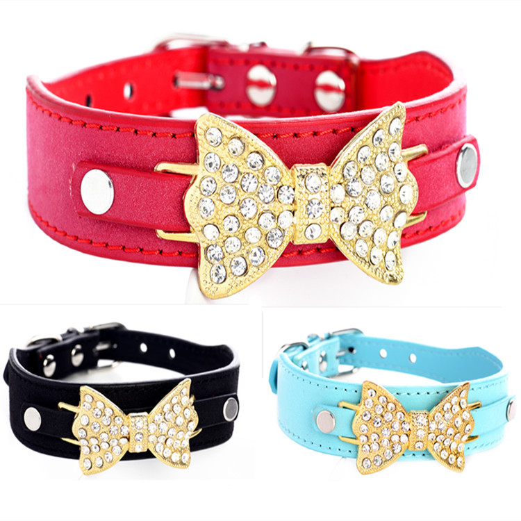 Commodity Shiny Man-made Diamond Bow Pet Collar Bow Accessories Pet Dog Supplies