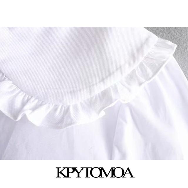 بلوزات عتيقة ذات الكشكشة الحلوة باللون الأبيض غير النظامية للسيدات موضة 2020 قمصان نسائية بأكمام طويلة بياقة بيتر بلوزات أنيقة