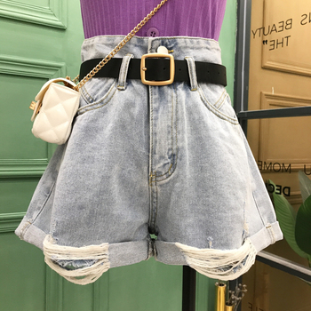 High-waisted Jeans Shorts for Women 2020 Summer New Korean Fashion Loose Wide Legs A-line Holes Shorts Girls Jeans Hot Pants eaboutique 2018 new street fashion rock star kids summer big holes jeans for girls jeans 2 6 years old