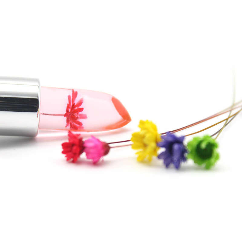 กันน้ำลิปสติก Moisturizer ลิปสติกยาวนานใสวุ้นดอกไม้แต่งหน้าอุณหภูมิเปลี่ยนสี Lip Pink TSLM1