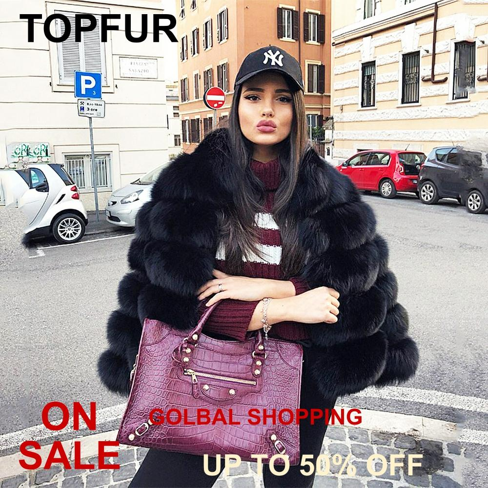 Topfur 2019 real casaco de pele das mulheres inverno preto casaco curto natural pele de raposa casaco mangas completas roupas finas marrom pele branca jaqueta