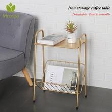 Shelf Magazine-Storage Tea-Desk Iron Sofa-Side Coffee Table Golden Living-Room Two-Layers