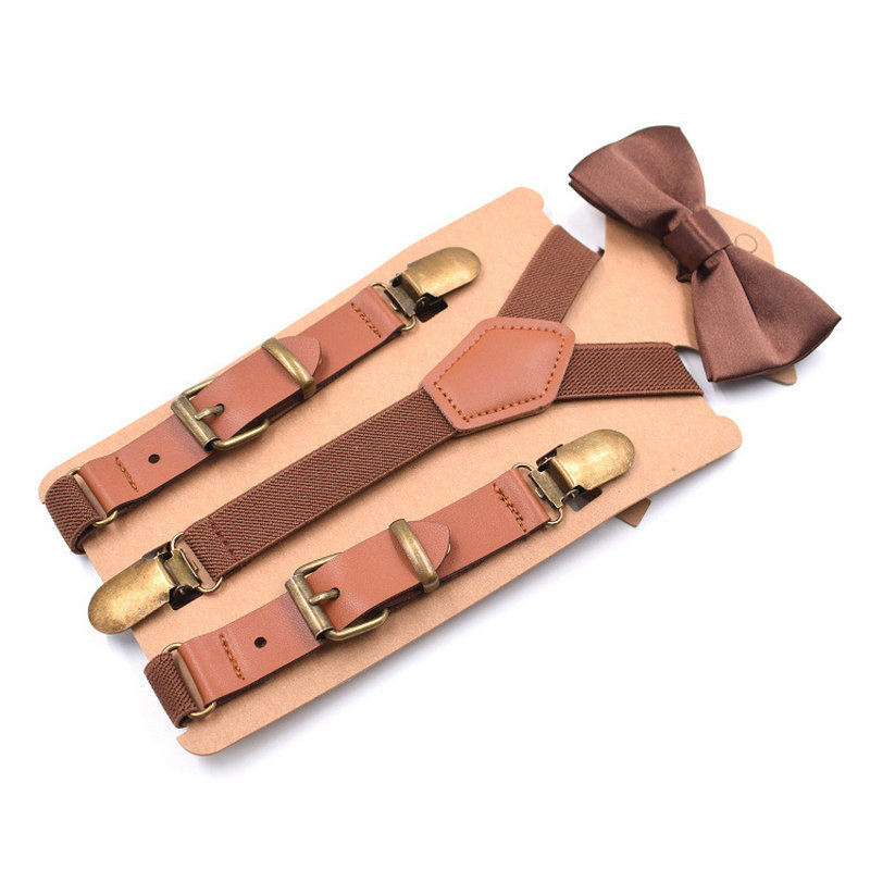 Children Boy Girl Pants Trousers 2cm Clip-on Y-Back Braces Bowtie Elastic Stays 3 Clips Alloy Metal Head Suspenders Bow Tie Set