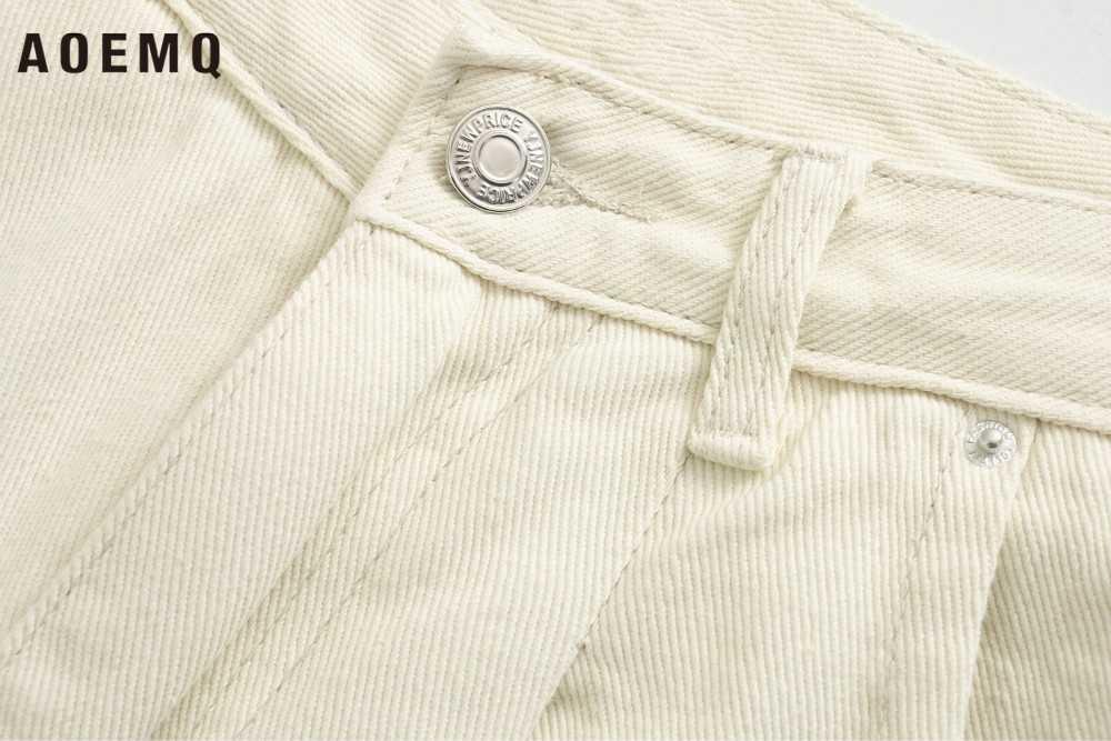 AOEMQ Casual Jeans High Street Einfache England Stil Jeans Beige Farbe Zipper Breasted Taille Jeans Frauen Buttoms für Termin
