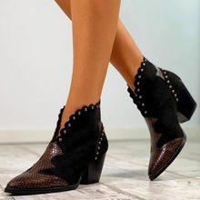 Women Rivet Boots Female Autumn Winter PU Leather Cowboy Ankle Boots Pointed Toe Wedge Heel Woman Booties Snake Shoes(China)