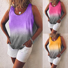 Women's Haut Femme Loose Round Neck Rainbow Gradient Printing Top Mujer Vest Summer Clothes For Women Vetement Femme 2021