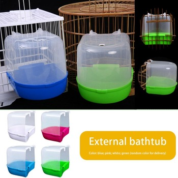 1Pcs Plastic Bath Bird Cage Parrot Supplies Anti-aging Bathing Tub For Small Birds Canary Budgerigar