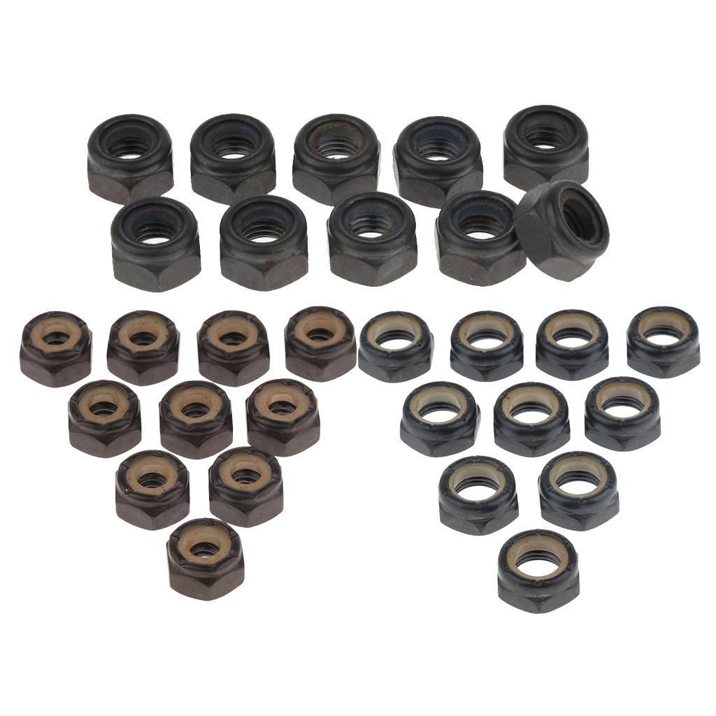 30Pcs Hardware Black Nuts Skateboard Truck Speed Kit Replacement Skateboard Kingpin Lock Nuts 5mm 8mm 10mm