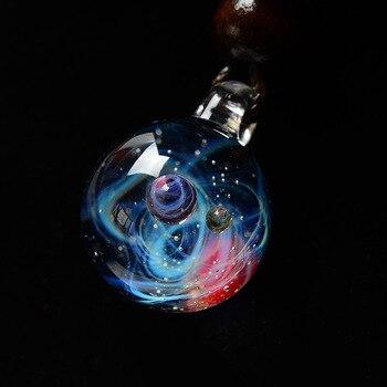 LKO Nebula Cosmic Handmade Galaxy Glass Pendant with Rope Necklace Lucky Men Women Couple Jewelry Valentine's Day Present