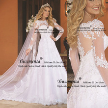 Свадебное платье трапециевидной формы с длинными рукавами, роскошные прозрачные тюлевые Свадебные платья с кристаллами, Vestido De Noiva, платья принцессы с аппликацией