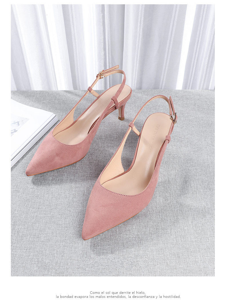 Woman's Spring 6cm Thin High Heels Slingbacks 18
