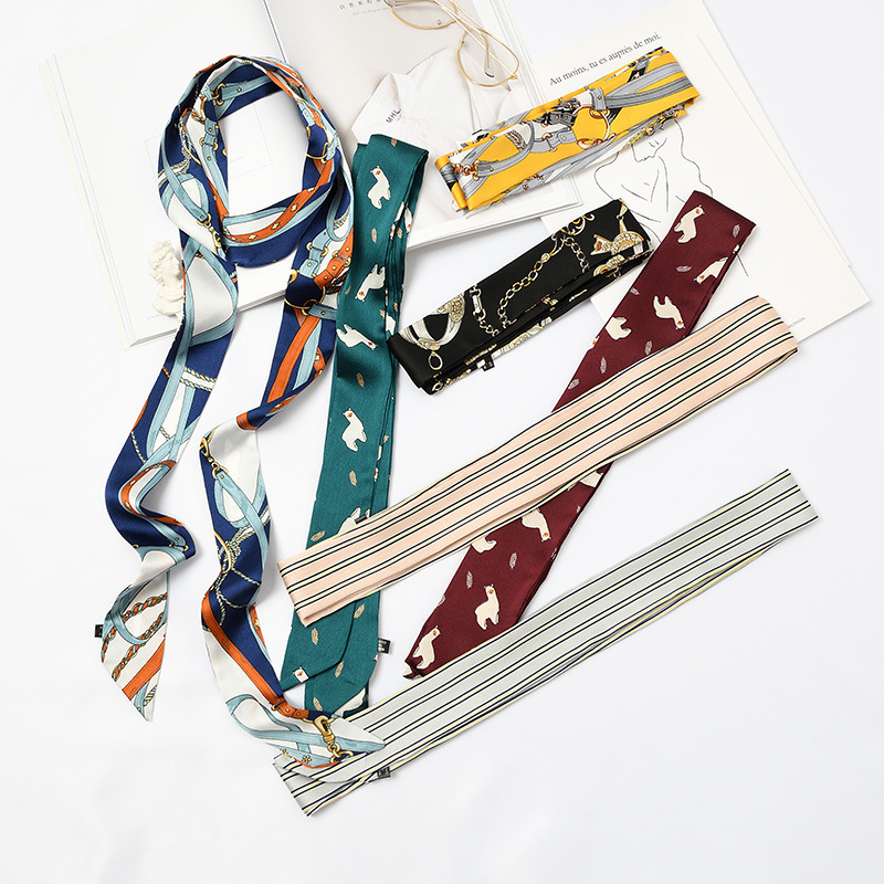 5X195cm New designer Korean jersey scarf Slender Narrow Silk Scarf printed Small silk women imitation scarves girl