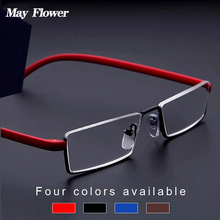 May Flower Metal Square Anti-Blue Light Reading Glasses Men TR90 Half Frame Rimless Prescription Eyeglasses Women With Case+1.75