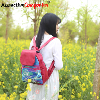 Women Brand Dazzling Tulip Ethnic Backpack National Girl Vintage Bagpack Ladies Shoulder New Travel School Yunnan Femme Hand Bag