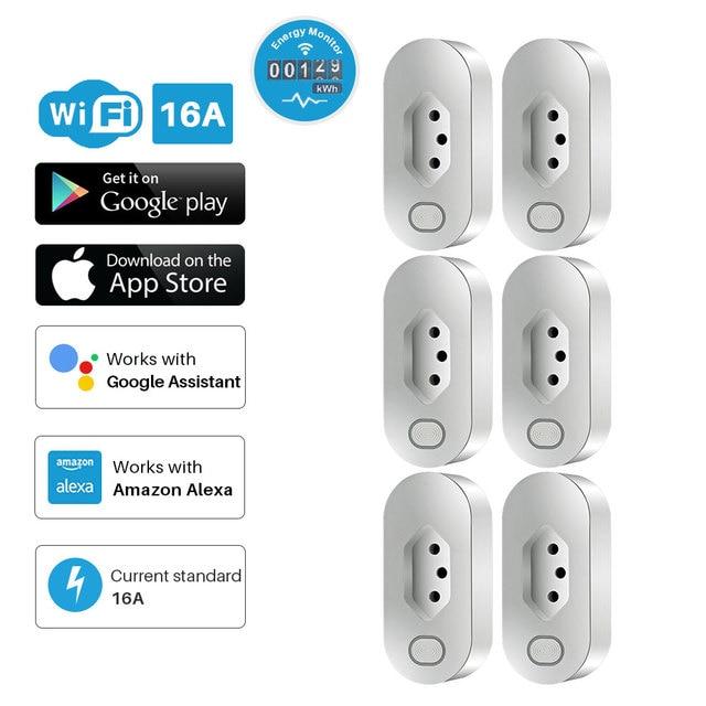 Enchufe inteligente WiFi, toma de corriente estándar de Brasil con monitoreo de energía, Compatible con asistente de Google Alexa
