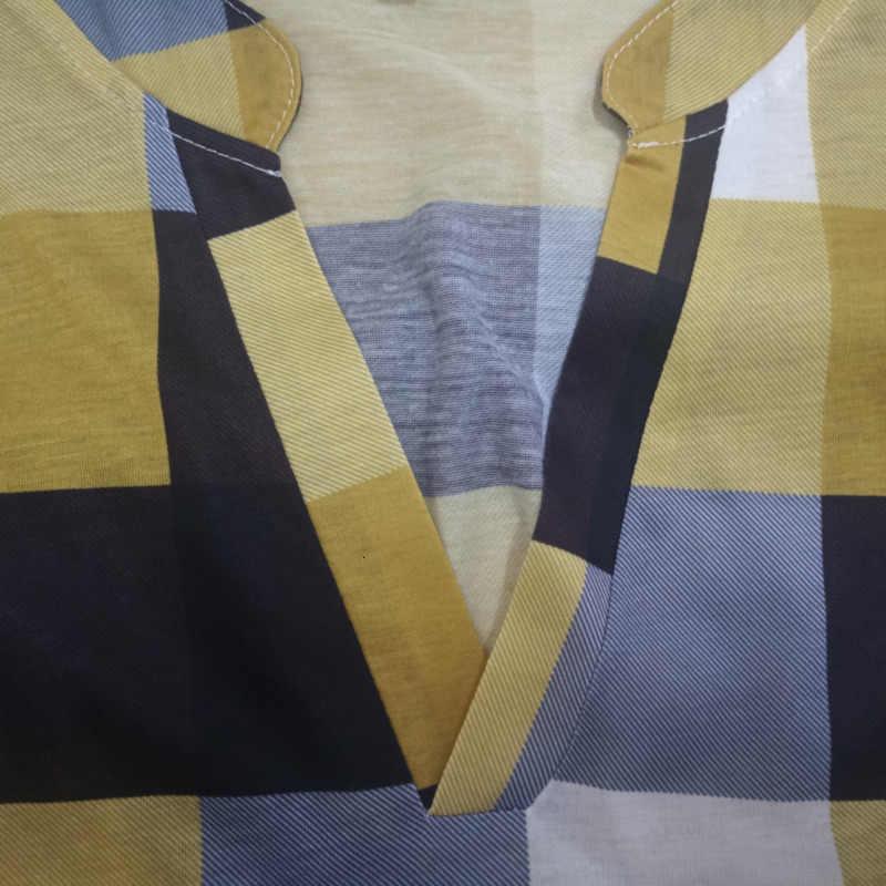 Kadın artı boyutu ekose gömlek bahar sonbahar uzun kollu V boyun Casual kadın üstleri ve bluzlar bayanlar ofis gömlek 5XL blusas