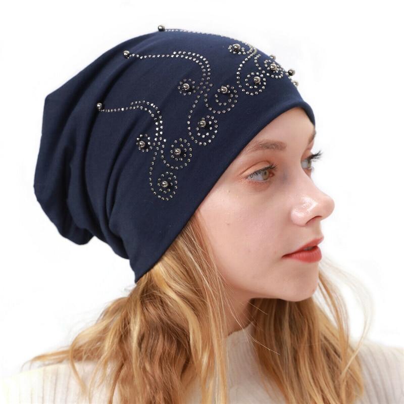 Pearl Autumn Winter Women Hat Skullies Beanies Knitted Caps Female Winter Beanie Hat Soft Warm Hats Ladies Bonnet Wrap Cap