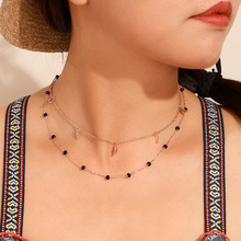 цена на 2020 Fashion Women Necklace Cute Metal Alloy Leaf Layered Black Stone for Jewelry Classic Chains Necklace