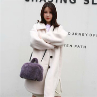IANLAN Women Solid Full pelt Mink Fur Handbags Sweet Lady Cute Crossbody Bags / Shoulder Bags IL00534