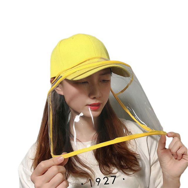 2020 Newest Collapsible Removable Protective Anti-saliva Dust-proof Hat Safety Full Face Shield Protection Caps with Clear Mask 4