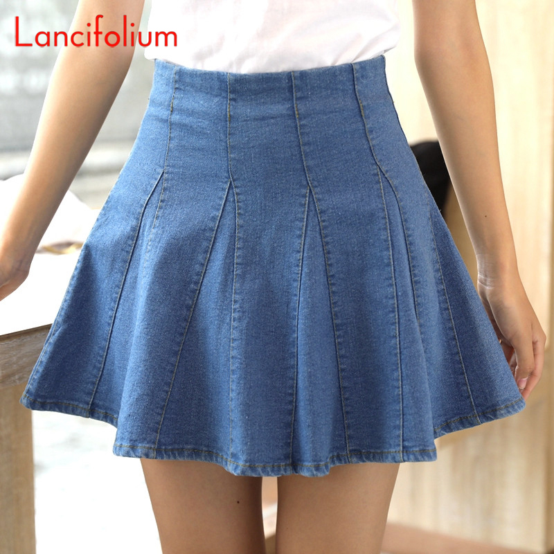 Pleated High Waist Jeans Skirt Women Korean Skater Skirt Harajuku Denim Mini Skirt Sexy Ladies Vintage Kawaii Cute Unif Skort(China)