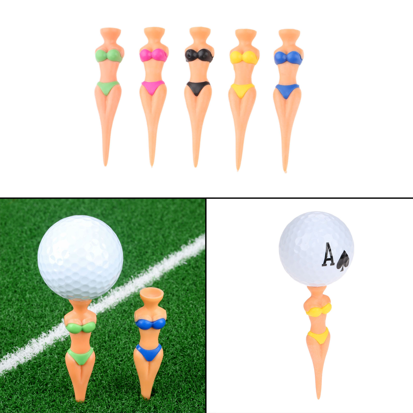 6pcs Plastic Novelty Bikini Lady Girl Women Golf Tees 78mm Pitch Fork Divot Tools Funny Joke Stag Party Golf Accessories