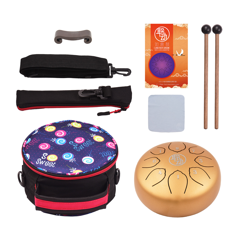 6 pouces langue en acier tambour Handpan tambour 8 Notes c-key Instrument de Percussion avec maillets sac de tambour chiffon d'essuyage pour Musical