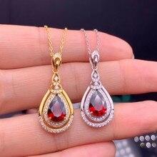 цена Jewelry 925 sterling silver inlaid natural garnet gemstone girl pendant + necklace gold white gold fashion color translucent su онлайн в 2017 году