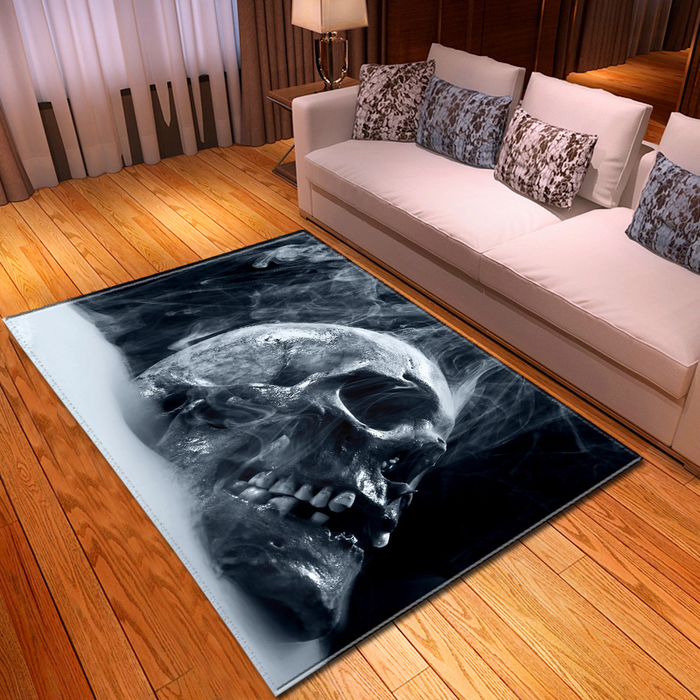 Nordic 3D Skull Carpet Halloween Bedroom Party Area Rug Children Play Mat Soft Flannel Memory Foam Large Carpets For Living Room