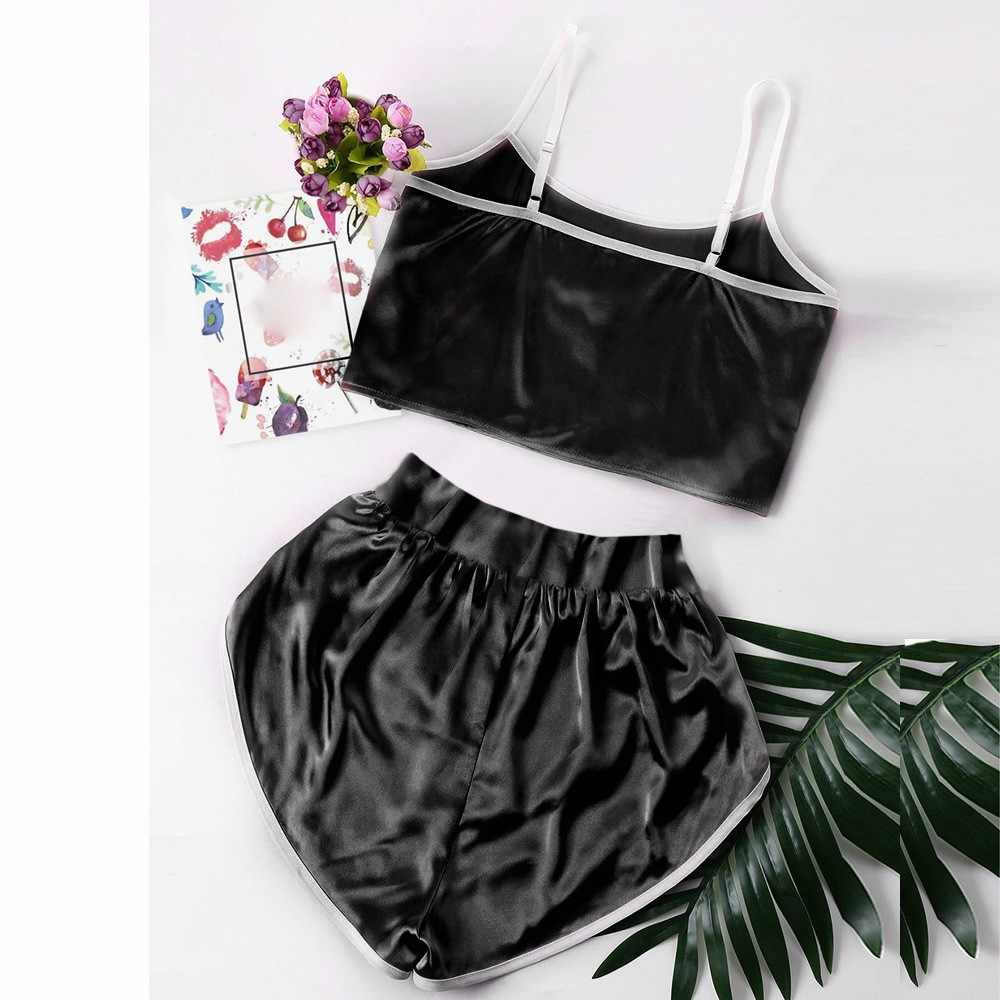 Pijamas feminino bonito sexy lingerie menina preto pijamas solto conjunto pijamas verão sem mangas lingerie tops + pijamas shorts