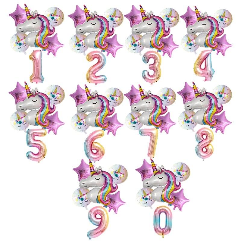 Воздушный шар в виде единорога, украшения для 1-го дня рождения, надувные гелиевые фольгированные воздушные шары в виде первого шара для дет...
