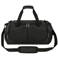 Ougger Big Multi Functional Travel Bag Simple Men Shoulder Handbags Black Oxford Leisure England Style Fitness Bags for Outdoor
