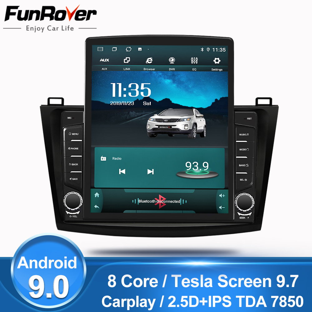 FUNROVER 2.5D IPS Android9.0 9.7 Tesla screen Car Radio Multimedia video Player Navigation GPS For Mazda 3 Axela 2011-2013 nodvd image