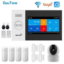 GauTone PG107 Wifi GSM Système D'alarme pour La Sécurité À La Maison D'alarme Soutien Tuya APPLICATION Télécommande Compatible Alexa Avec Caméra IP