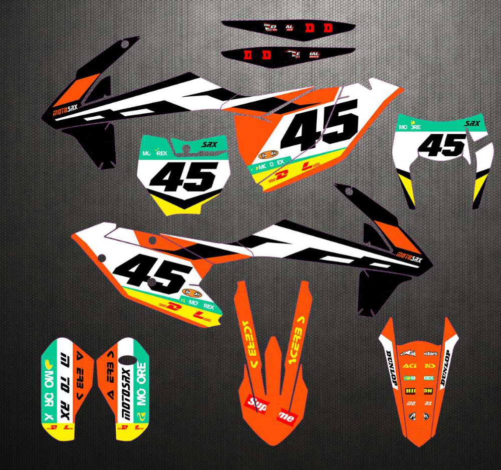 For KTM 125 250 300 350 450 SX SXF XC XCF 16-18 EXC 2017-2019 Free Customized Number Graphics & Backgrounds Stickers Kit Decal